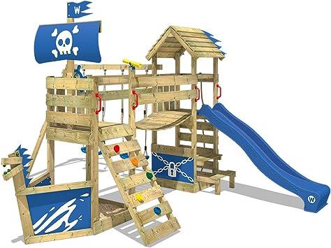 WICKEY Parque infantil de madera GhostFlyer con columpio y tobogán azul, Casa de juegos de jardín con arenero y escalera para niños: Amazon.es: Bricolaje y herramientas