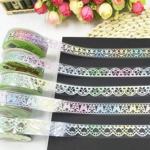 Lace Glitter Washi Masking Tape,Colorful Decorative Sticky Adhesive Masking Tape DIY Craft Decorations Scrapbooking Decorating Stickers Random Pattern Set of 5 (Colorful Glitter 1)
