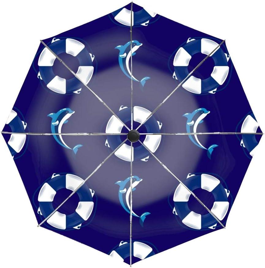 Ergonomic Non-Slip Handle Auto Open//Close Compact Umbrella,Sea Lighthouse Marine Boat Wheel Automatic Folding Travel Umbrella