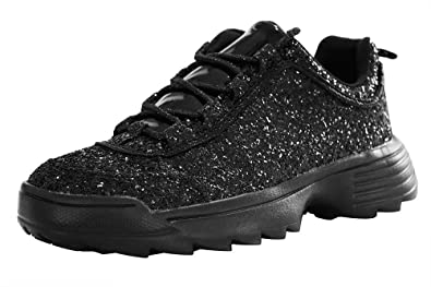 26beaffd197a LUCKY STEP Women Glitter Sparkly Bling Chunky Dad Tennis Casual Sneakers (6  B(M