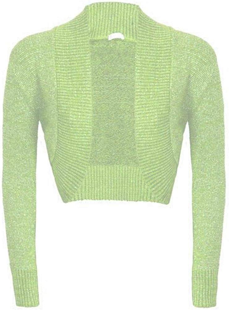 FLAVES FASHION FF11 New Womens Shiny Knitted Lurex Bolero Long Sleeve Cropped Shrugs Cardigan
