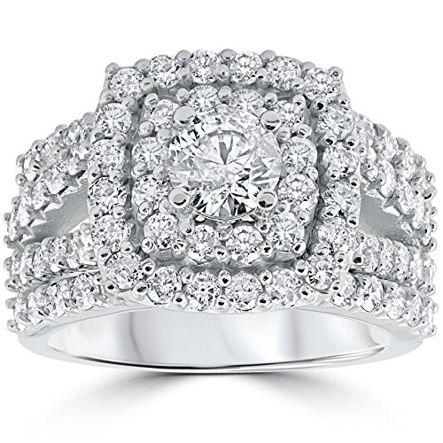 3 ct Diamond Engagement Wedding Double Cushion Halo Trio Ring Set 10k White Gold in Size 4-12 - 10k Engagement Ring