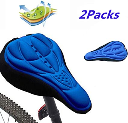 3D Silicone Gel Soft Bike Bicycle Saddle Cushion Seat Cover Pad Comfort 2Pcs