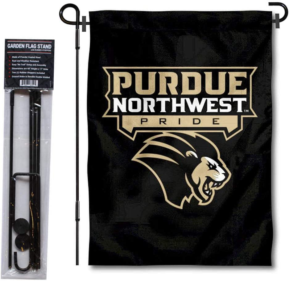 College Flags & Banners Co. Purdue Northwest Pride Garden Flag and Flag Stand Pole Holder Set