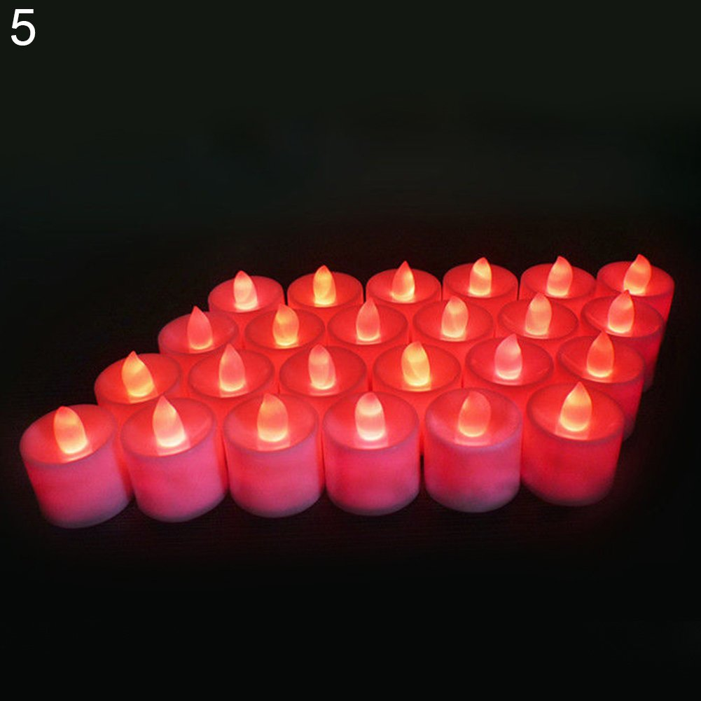 Brussels08 24Pcs Flameless LED Tea Light Candles Battery-powered Unscented LED Tealight Candles Fake Candles Night Light for Wedding Party Halloween Christmas New Year Festival Celebration White