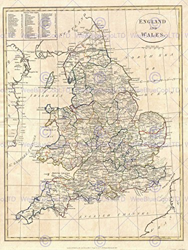 1799 CLEMENT CRUTTWELL MAP ENGLAND VINTAGE POSTER ART PRINT 12x16 inch 30x40cm (England Map)