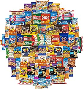 Snacks Care Package Gift Assortment Sampler Mixed Bars, Cookies, Chips, Candy for Office, Military, College, Meetings, Schools, Friends & Family