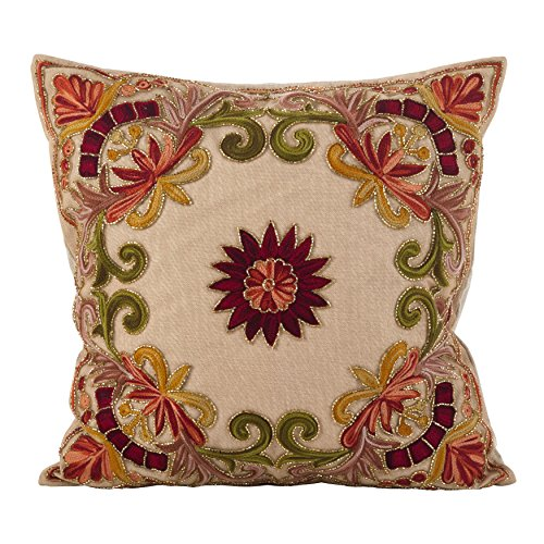 SARO LIFESTYLE Embroidered Floral Design Beaded Cotton Poly Filled Throw Pillow, 18