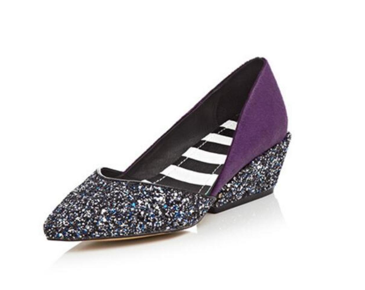 Ximu Frauen Beleuchtung Pailletten Keile Schuhe Wies Flache Casual Sandalen Sommer Pumpen Hochzeit Arbeit  37 EU|Purple