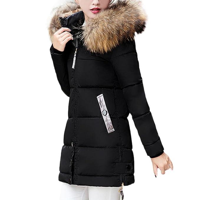 IMJONO Abrigo de Invierno Cremallera Acolchado Chaqueta Largo con Capucha de Manga Larga para Mujer Parka