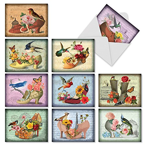 Fancy Footwork: 10 Assorted Blank All-Occasion Note Cards Featuring Romantic Victorian Shoe Collages Filled with Beautiful Flowers, w/White Envelopes. M2347OCB