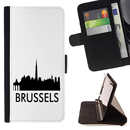 STPlus Brussels, Belgium City Skyline Silhouette Postcard Wallet Card Holder Cover Case for Motorola Droid