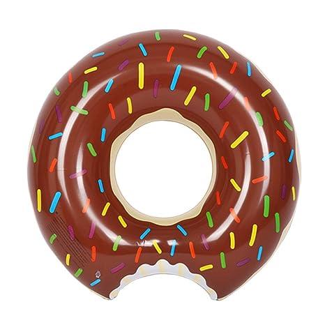Fochea Flotador Inflable Flotador Donut 70cm Para Piscina Playa (S, Café)
