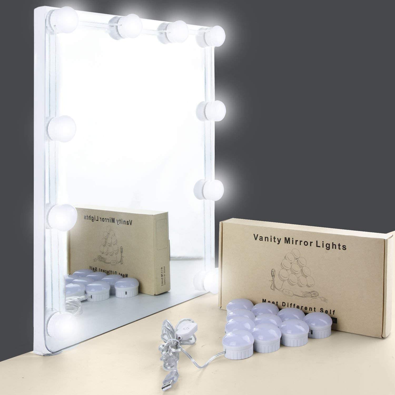 Mirror Lights, UNIFUN Hollywood Style LED Makeup Mirror Lights with 10 Dimmable Bulbs, USB Powered Flexible Lighting Fixture for Bathroom, Makeup Dressing Table (Mirror Not Include)