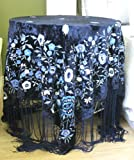 Oversized Fringed Floral Embroidered Velvet Piano Shawl Scarf Tablecloth Blue