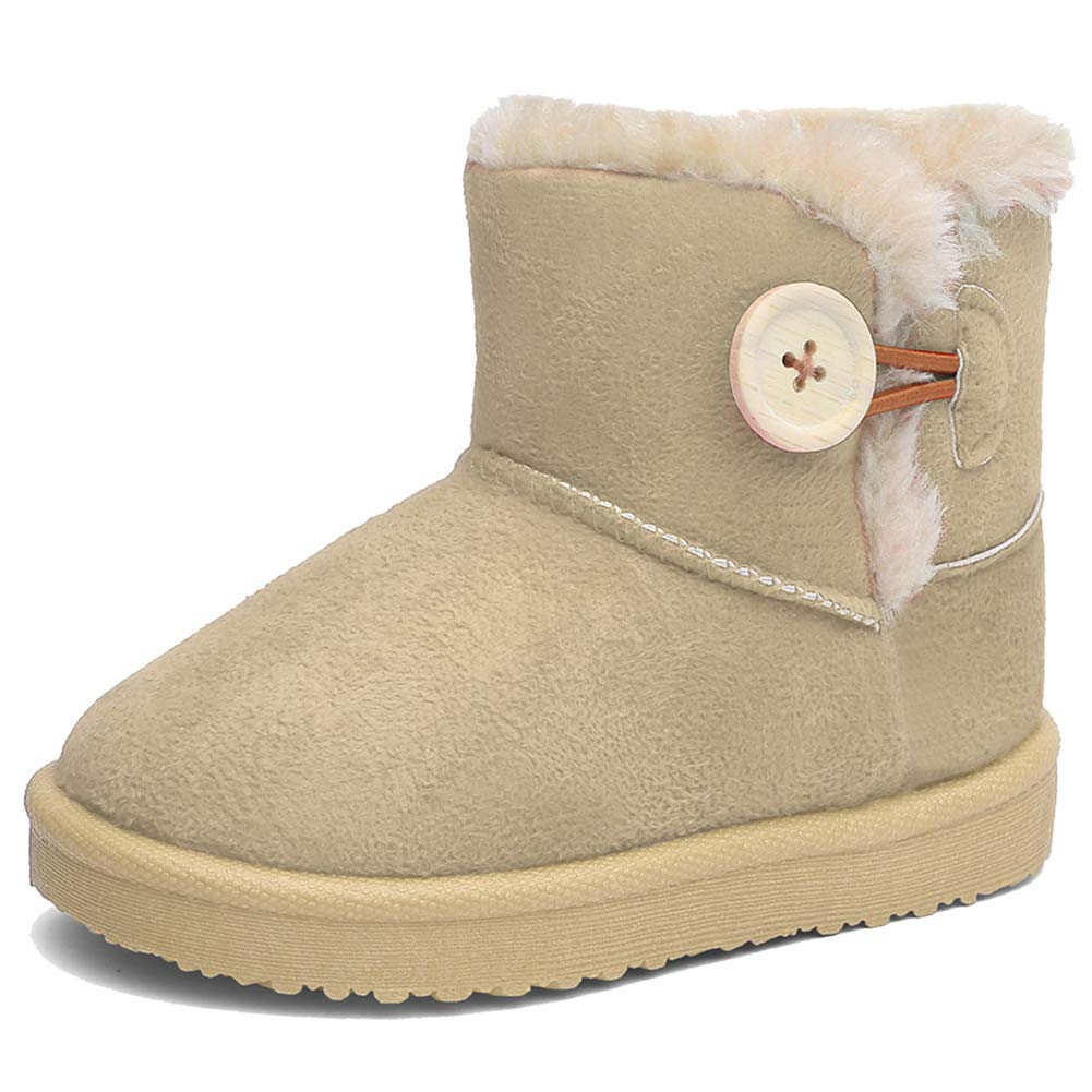 EQUICK Girl's and Boys Winter Snow Boots Fur Outdoor Slip-on Boots (Toddler/Little Kids) beige-20