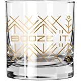 """Easy, Tiger Lowball Glass with Foil, Gold """"Booze It"""" (Single Glass)"""