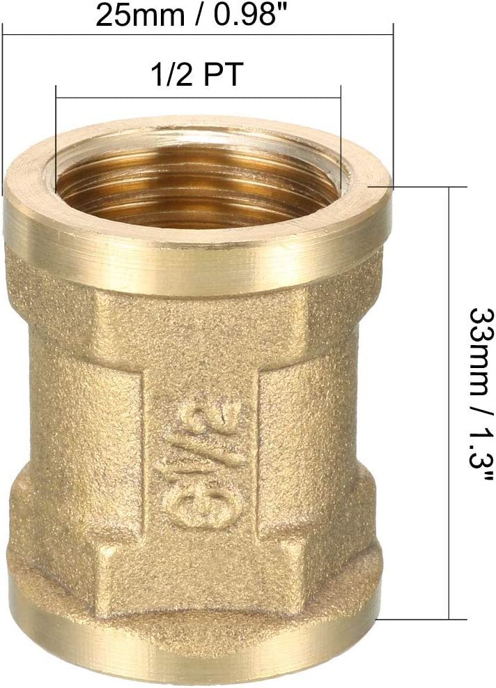 1//2 PT Female Thread Straight Rod Adapter 5pcs uxcell Brass Pipe Fitting Coupling
