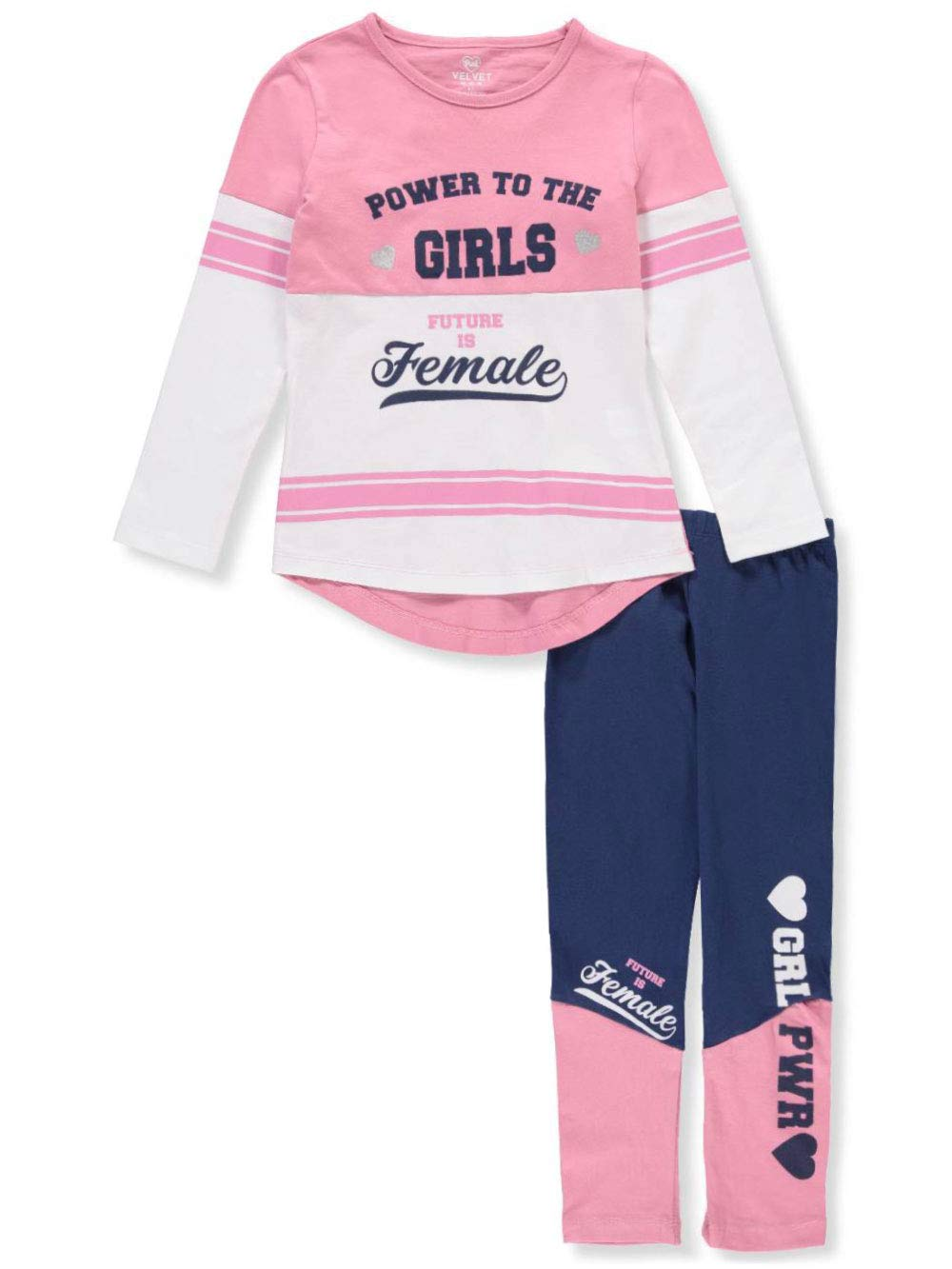 Pink Velvet Girls' 2-Piece Leggings Set Outfit