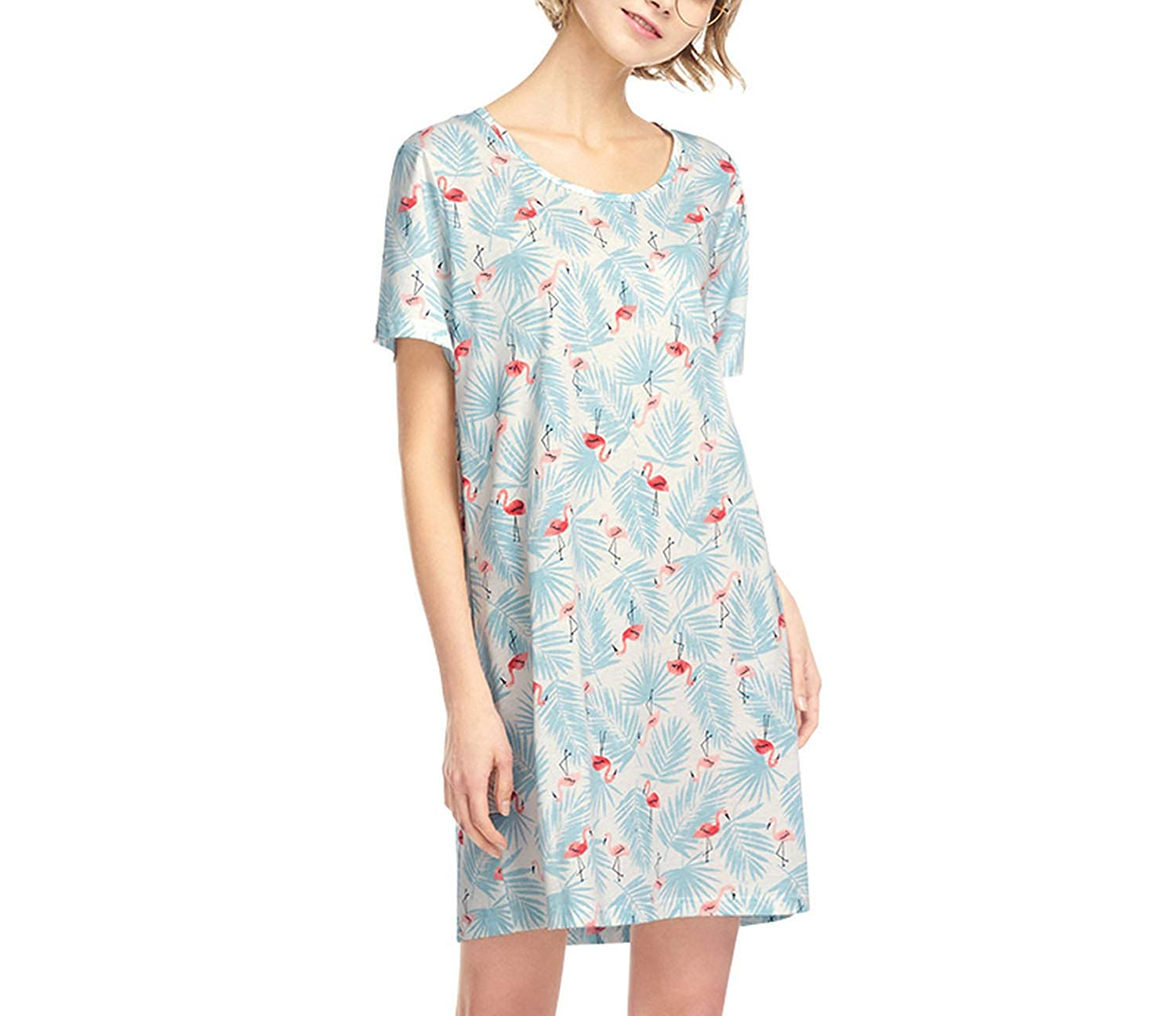Flamingo Blouses HeatTracing Womens Sexy Sleepshirts Nightdress Cotton Printed Fashion Straps Cute Floral Casual Camisole