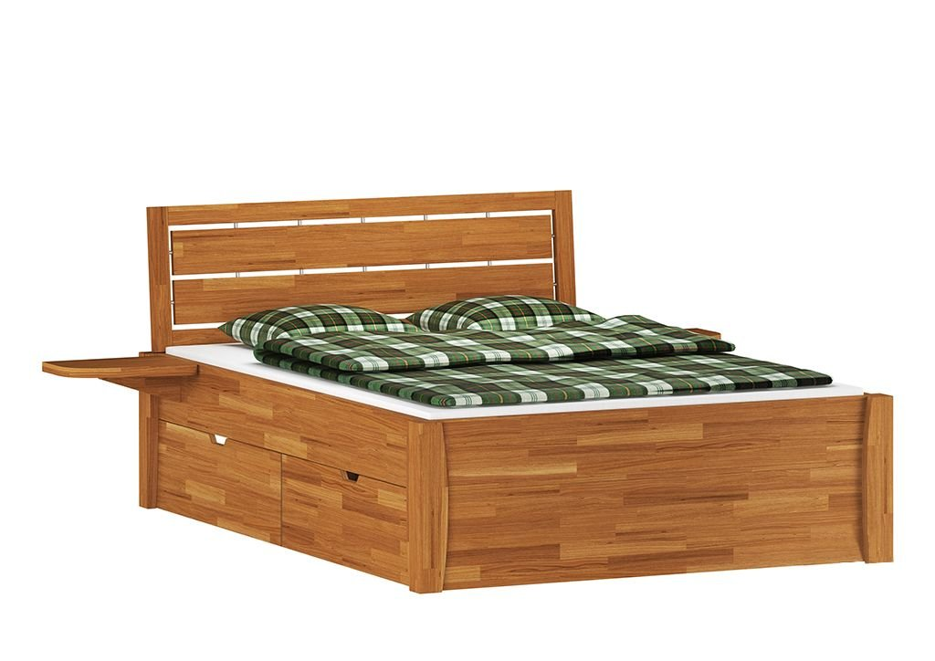 Jugendbett / Funktionsbett Karem 1 mit 4 Schubladen, Wildeiche Vollholz massiv geölt - Liegefläche 180 x 200 cm