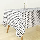 Roostery Tablecloth - Video Game Pattern Black and White Vintage Retro Fun Gaming by Cloudycapevintage - Cotton Sateen Tablecloth 70 x 90