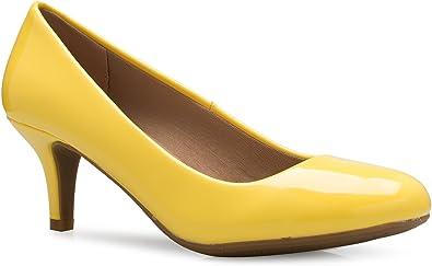 Image result for Olivia K Women's Comfort Classic Round Toe Kitten Low Mid Heel Dress Pumps