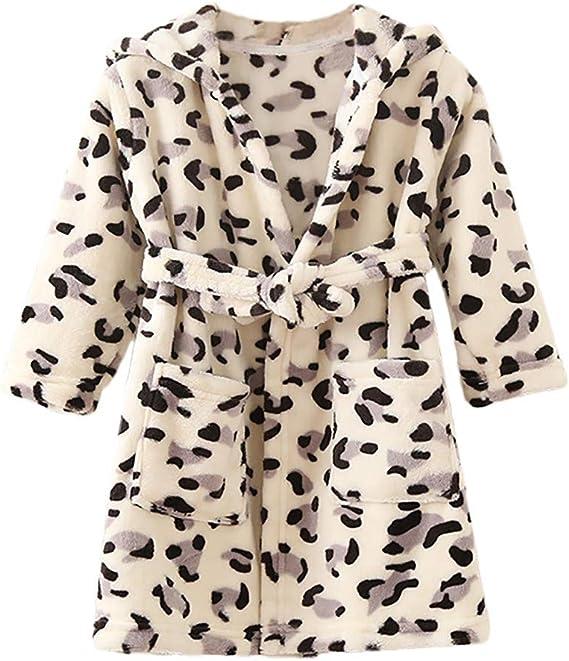Toddler Baby Boys Girls Print Thick Warm Flannel Bathrobe Night-robe Pajamas