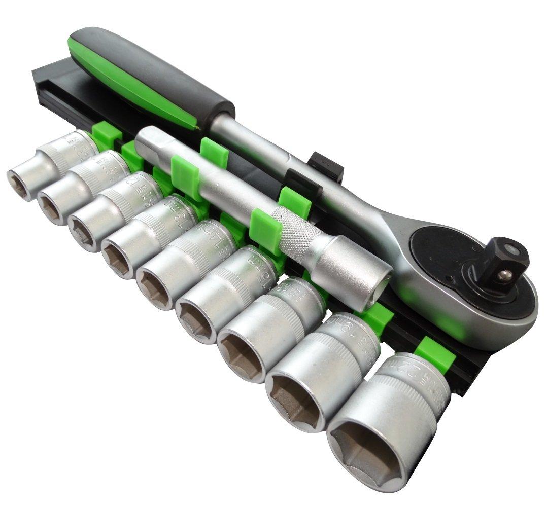 AERZETIX Juego de llaves de vaso carraca compacto 1//2 extension 12cm 10//11//12//13//14//15//17//19//22mm CR-V C17078