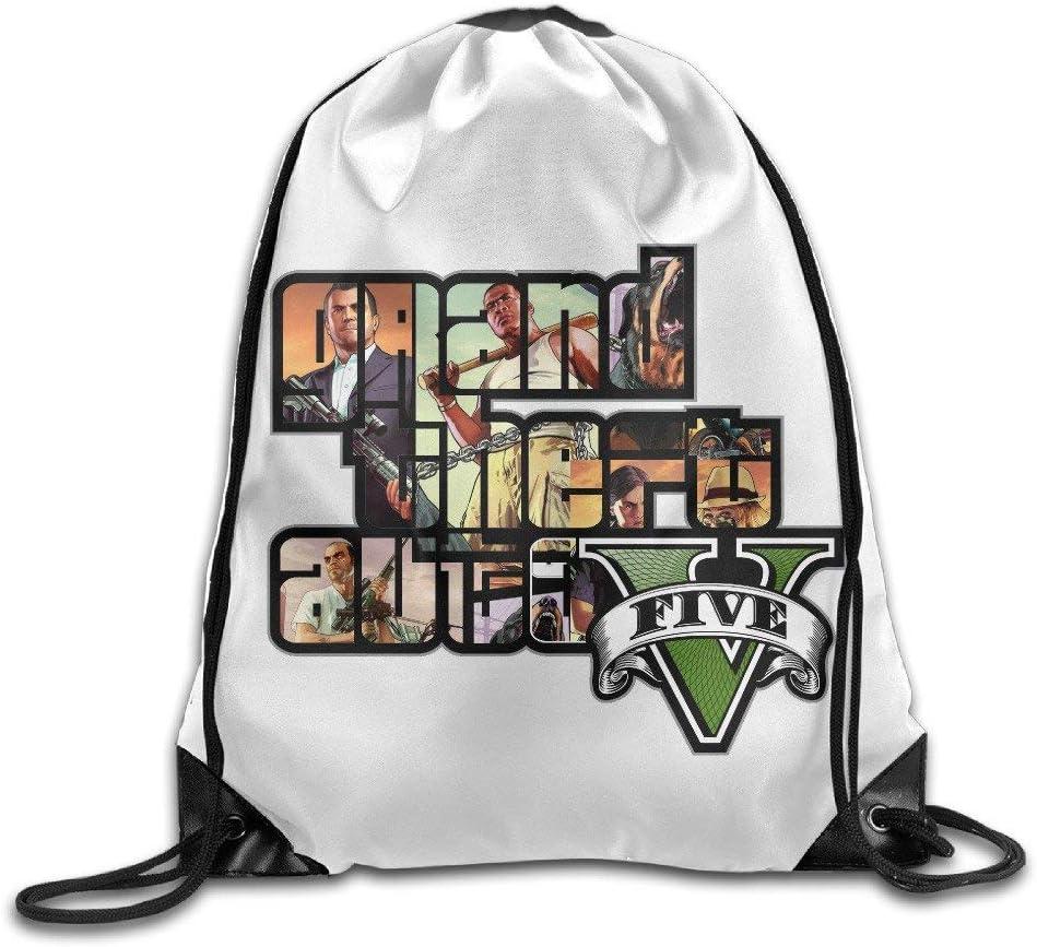 GONIESA Creative Design GTA 5 Grand Theft Auto V Game Logo Drawstring Backpack Sport Bag for Men and Women