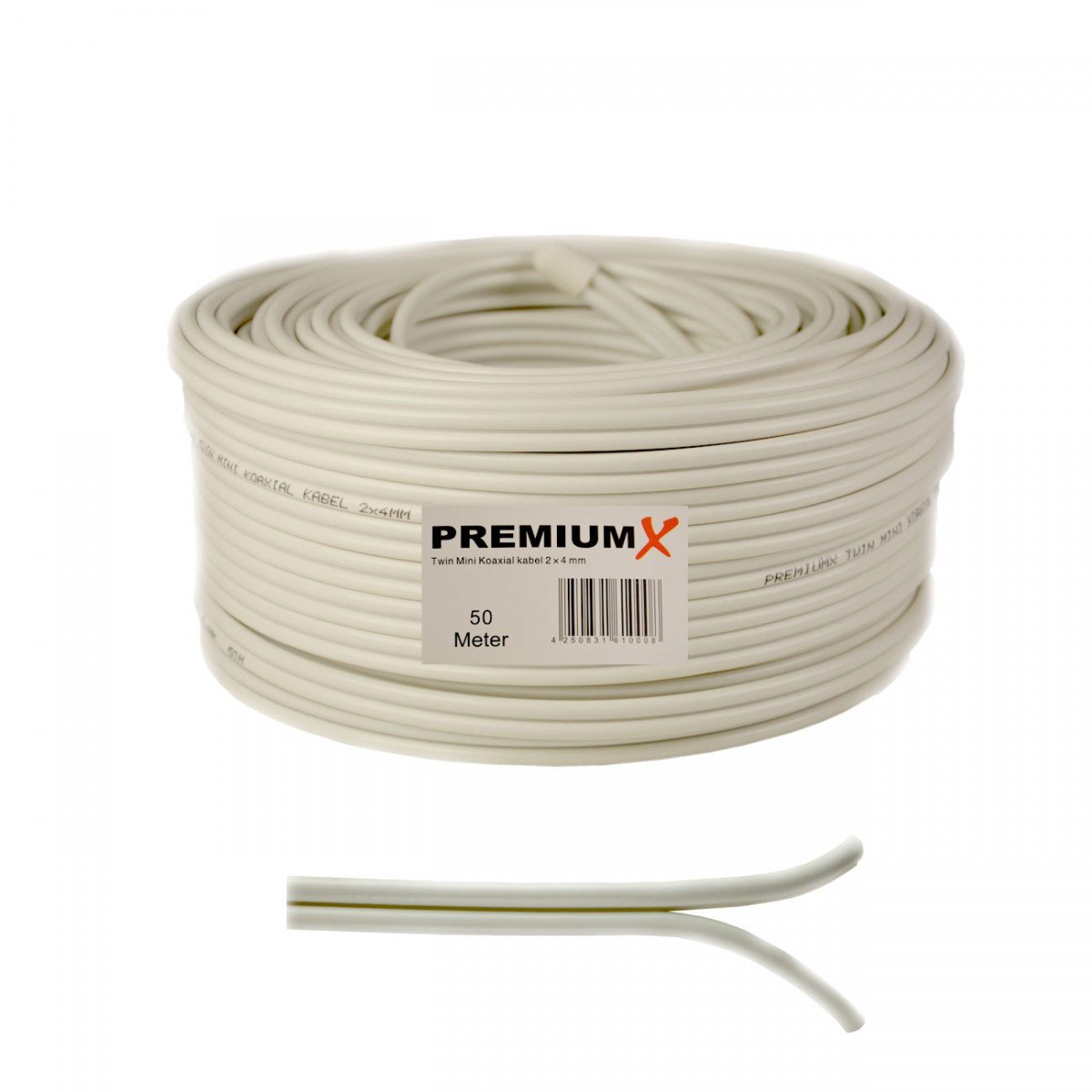 Cable coaxial satelital de 50 metros 90dB Twin Mini 2x 4 mm cable de antena blanca FullHD HDTV NUEVO