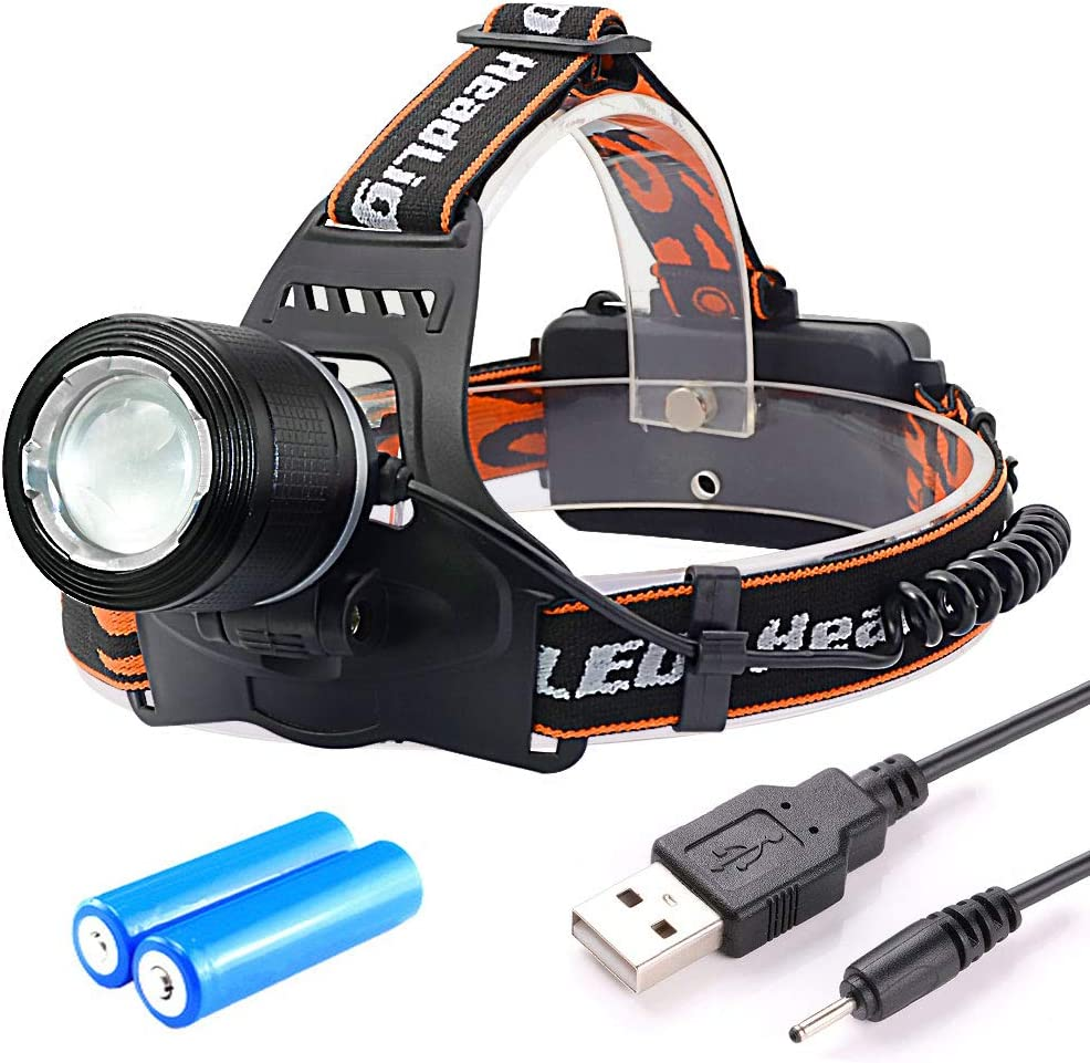Witmoving LED Headlamp Headlight with 3 Modes Zoomable Light SOS CREE T6 USB Headlamp Rechargeable 18650 Battery Powered 90 Degree Adjustable for Camping, Hiking, Runing 2 Battery Included