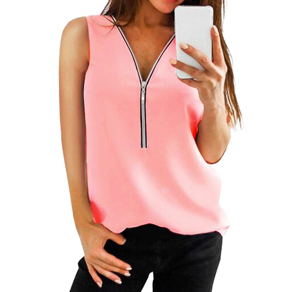 AgrinTol Women Zipper Tops Sleeveless Casual Vest Top Blouse Ladies Summer Loose T Shirts Top (2XL, Pink)