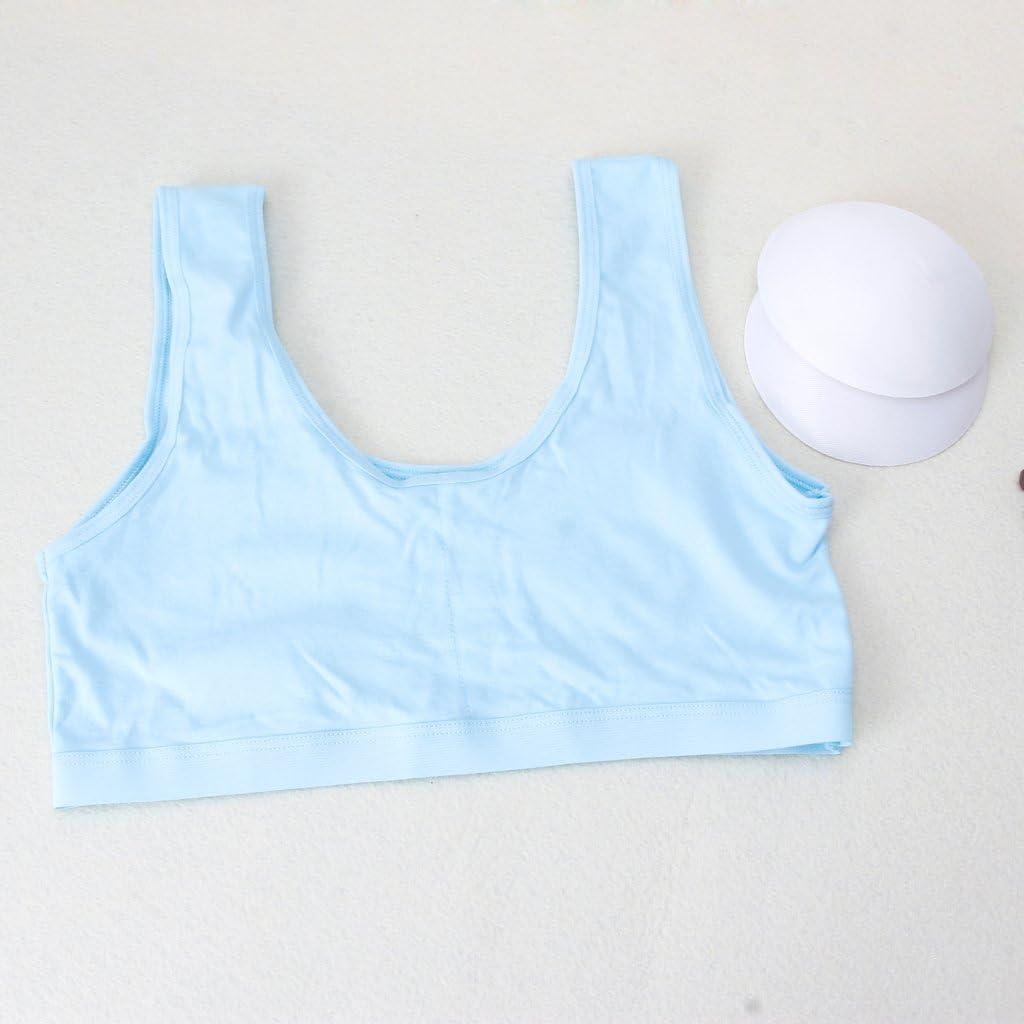 Hoxin 3Pack Kids Girls Sports Bra Teenage Underwear Teen Puberty Training Bra Underclothes