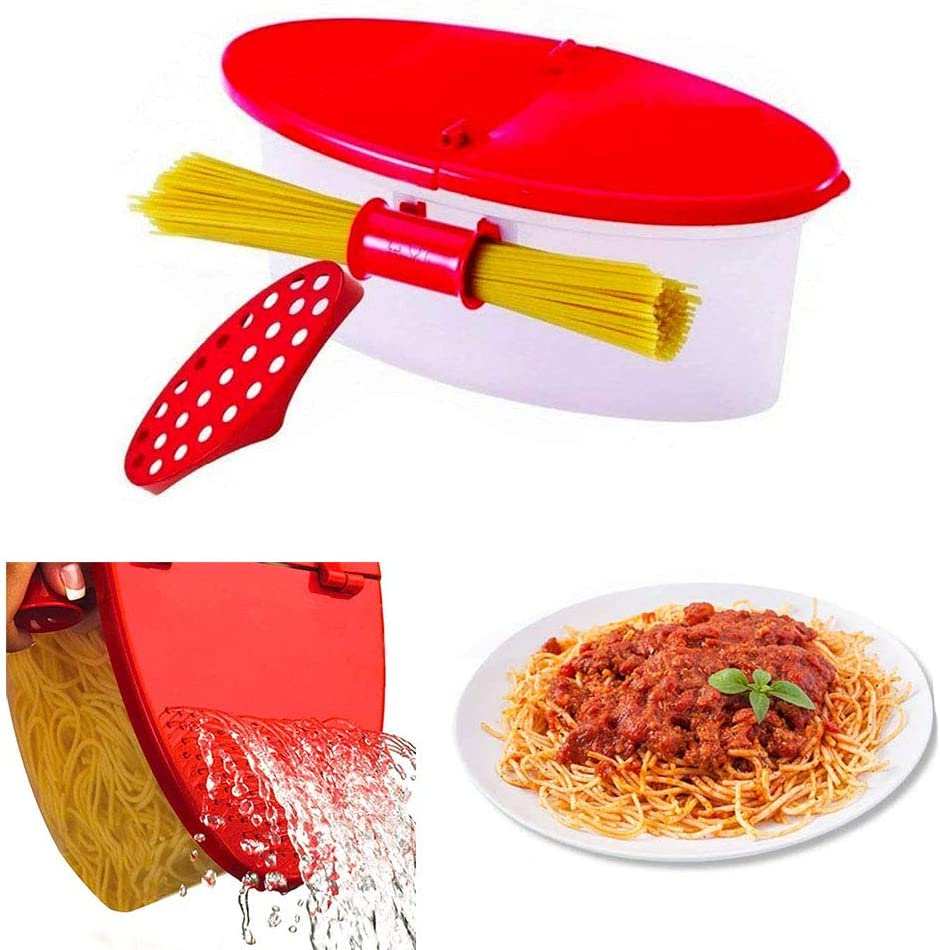Microwave Pasta Cooker with Strainer,Heat-resistant spaghetti box, fresh-keeping box, microwave heating bowl