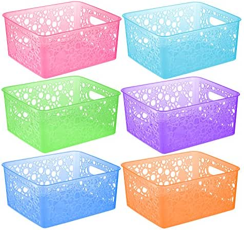 Zilpoo 6 Pack - Plastic Colorful Storage Organizing Basket, Bathroom Vanity, Drawer, Closet Shelves Organizer Bins