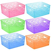 6 Pack - Plastic Colorful Storage Organizing Basket, Bathroom Vanity, Drawer, Closet Shelves Organizer Bins