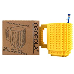 Build-On Brick Mug with Toy Man Set - Yellow Building Toy Cup Unique DIY Blocks Cup Funny Gift 12oz