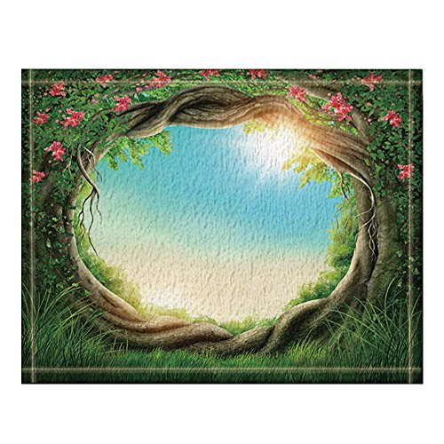 (NYMB Enchanted Forest with Flower on Tree Rattan at the Spring with Sunshine Bath Rugs, Non-Slip Floor Entryways Outdoor Indoor Front Door Mat,16X24 Inches Bath Mat)