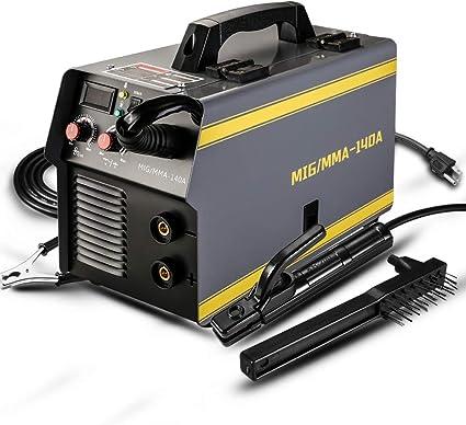 DEKOPRO MIG Welder,140A Welder Machine IGBT Digital Display LCD Hot Start Welder with Electrode Holder,Work Clamp and Brush