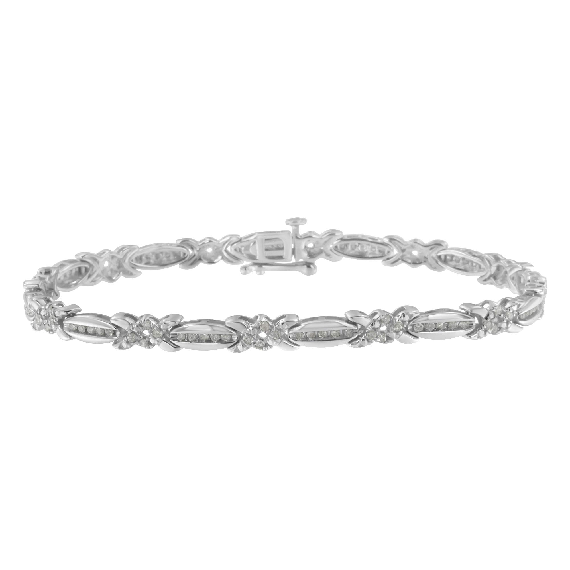 Sterling Silver Diamond X-Link Tennis Bracelet (1 cttw, I-J Color, I3 Clarity) by Haus of Brilliance
