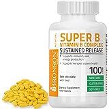 Bronson Vitamin B Complex Sustained Slow Release (Vitamin B1, B2, B3, B6, B9 - Folic Acid, B12), 100 Tablets