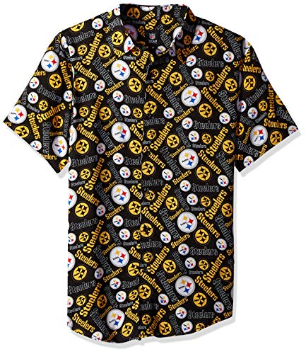 Pittsburgh Steelers Repeat Logo Button Up Shirt - Mens Medium (Steelers Nfl Slippers Pittsburgh)