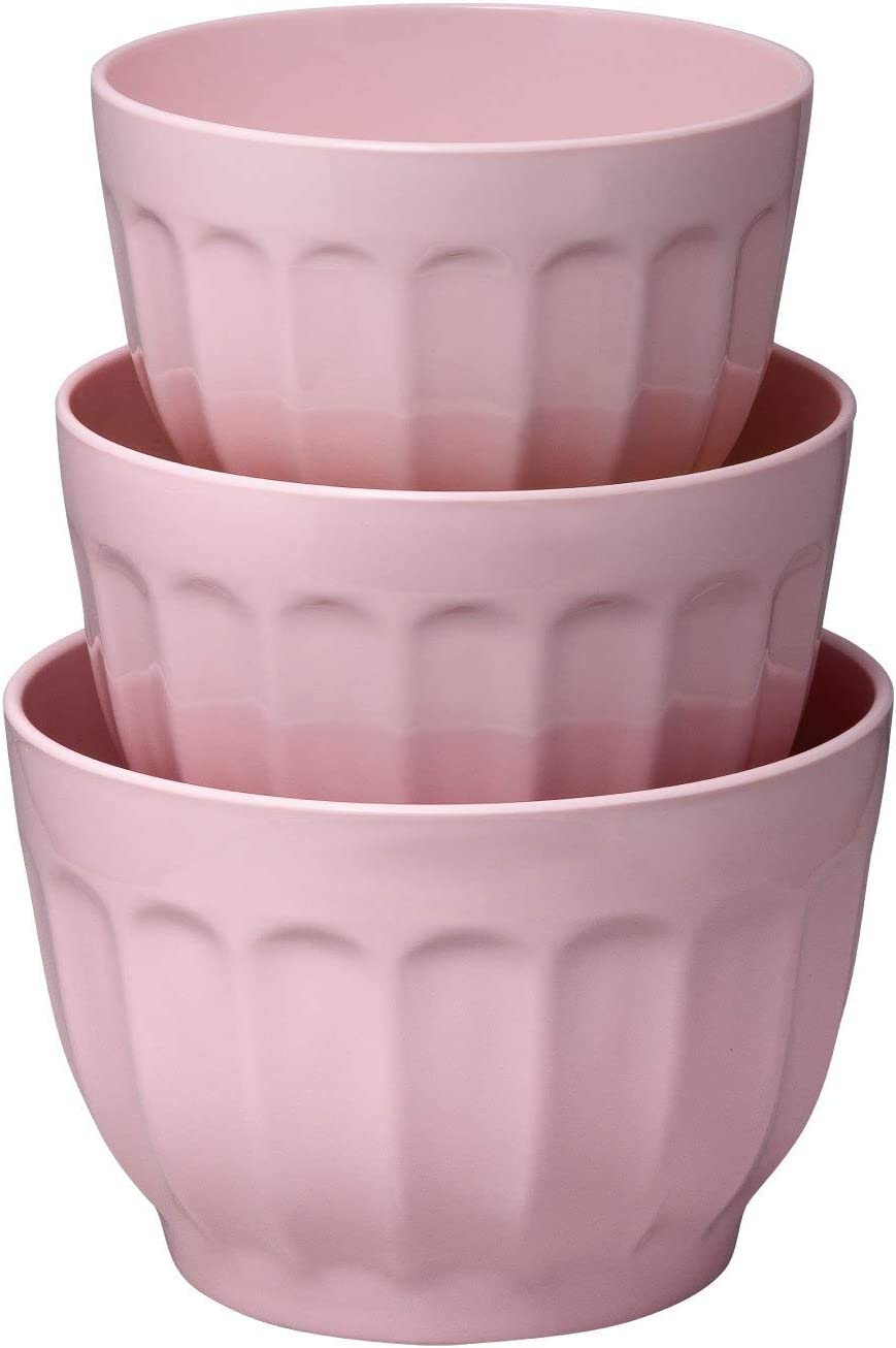 Gourmet Art 3-Piece Latte Heavyweight and Durable Melamine Prep and Serve Mixing Bowl Set, Pink, Home Essentials Cooking and Baking Tools, for Dry and Liquid Ingredients Kitchen and Everyday Use