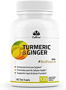 Zaffrus - Turmeric Curcumin & Ginger with Black Pepper (BioPerine) to Support Immune System, Support Joints & Pain Relief, Anti Inflammation and Antioxidant. 120 Supplement Capsules