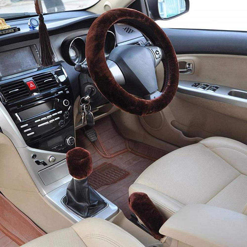 Car Plush Fashion Universal Steering Wheel Cover Winter Warm Plush Three-Piece Suit Pink Car Accessories Furry Black