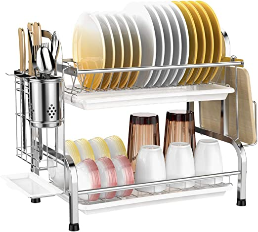 Dish Drying Rack, Veckle 2 Tier Dish Rack 304 Stainless Steel Utensil  Holder Cutting Board Holder Dish Drainer with Removable Drain Board for  Kitchen ...