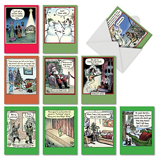(10 Assorted 'Bizarro by Piraro Holiday' Boxed Hilarious Christmas Cards - Featuring Funny Cartoon Comics for a Happy Holiday Season with Envelopes - Assortment Box of Merry Xmas Gifts A5546XSG-B1x10)
