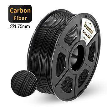 Filamento de impresora 3D de fibra de carbono, filamento de fibra de carbono PLA de 1.75 mm, filamento de impresora 3D extremadamente rígido, 1 kg ...