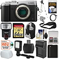 Panasonic Lumix DMC-GX8 4K Wi-Fi Digital Camera Body (Silver) with 64GB Card + Battery & Charger + Backpack + Strap + Flash + LED Light + Tripod + Kit